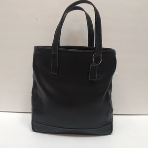 Vintage Authentic Coach Black Leather Book Tote